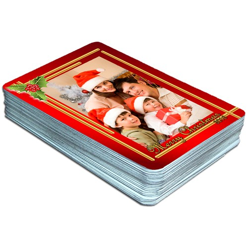 christmas holly berry custom photo playing cards
