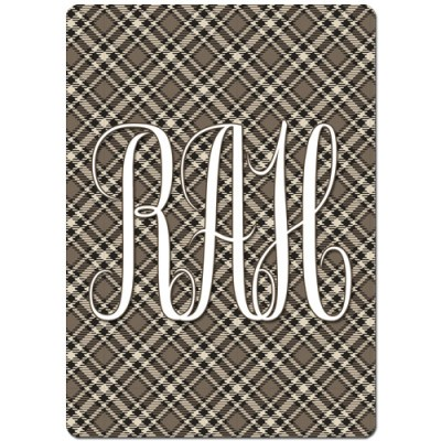 Monogrammed Personalized Playing Cards - Brown Plaid