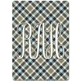 Monogrammed Personalized Playing Cards - Green & Blue Plaid