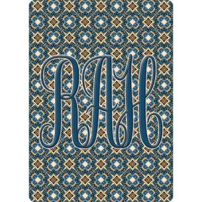 Monogrammed Playing Cards - Blue & Gold Byzantine Starburst