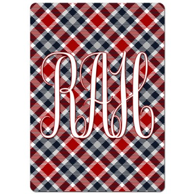 Monogrammed Personalized Playing Cards - Red & Black Plaid